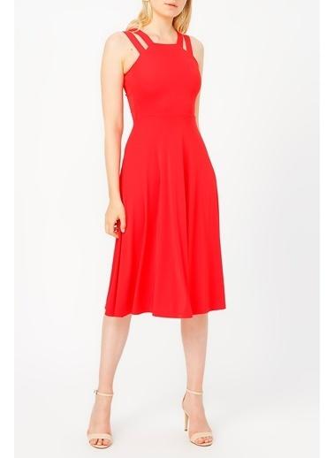 Random Çift Askılı Midi Elbise Kırmızı